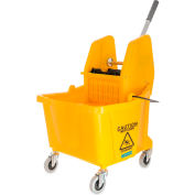 Carlisle Commercial Mop Bucket With Down Press Wringer 35 Qt., Yellow - 3690504