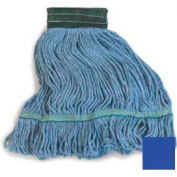 Flo-Pac® Medium Looped-End Mop With Green Band - Blue - Pkg Qty 12
