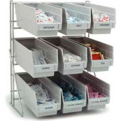 "Carlisle 381109LG - Frame Packet Rack, Holds 9 Containers, Gray, 19""H x 18""W x 12""D, Aluminum"