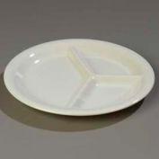 "Carlisle 4300042 - Durus® Narrow Rim 3-Compartment Plate 10-7/16"" x 1"", Bone - Pkg Qty 12"