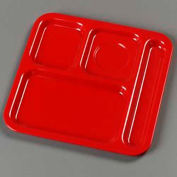 "Carlisle 4398405 - 4-Compartment Tray, 10-1/8"", 9-25/32"", 1/2"", Red"
