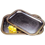 "Carlisle 608909 - Celebration™ Rectangular Tray W/ Gold Border 20-5/8"" x 14"" - Pkg Qty 12"