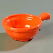 "Carlisle 700652 - Handled Soup Bowl 8 Oz., 4-5/8"", Sunset Orange - Pkg Qty 24"