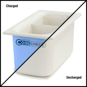 "Carlisle CM1103C1402 Coldmaster® CoolCheck 6"" D Third-Size Divided Food Pan  - White/Blue"