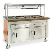 "Dinex DXDHF4 - Dinexpress Hot Food Counter, 4 Well, 63"" L x 30"" D x 36"" H, Stainless Steel"