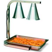 Carlisle HL7237PS00 - Two Bulb Free Standing Adjustable Heat Lamp W/ Pan & Screen, Aluminum
