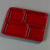 "Carlisle KL44485 - 4-Compartment Tray 10-15/16"", 8-21/32"", 5/8"", Dark Cranberry - Pkg Qty 12"