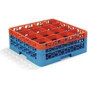 Carlisle RG16-2C412 - OptiClean™ 16 Compartment Glass Rack W/2 Extenders, Orange-Blue