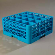 Carlisle RG16-314 - Opticlean™ 16 Compartment Glass Rack W/ 3 Extenders, Blue - Pkg Qty 2