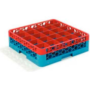 Carlisle RG25-1C410 - Opticlean™ 25-Compartment Glass Rack W/ 1 Extender, Red-Carlisle Blue - Pkg Qty 4