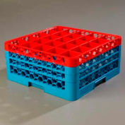 Carlisle RG25-3C410 - Opticlean™ 25-Compartment Glass Rack W/ 3 Extenders, Red-Carlisle Blue - Pkg Qty 2