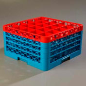 Carlisle RG25-4C410 - Opticlean™ 25-Compartment Glass Rack W/ 4 Extenders, Red-Carlisle Blue - Pkg Qty 2