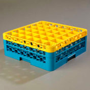 Carlisle RG36-2C411 - OptiClean™ 36-Compartment Glass Rack W/2 Extenders, Yellow-Blue