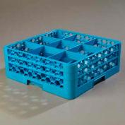Carlisle RG9-214 - Opticlean™ 9-Compartment Glass Rack W/ 2 Extenders, Carlisle Blue - Pkg Qty 3