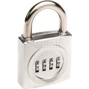 "Ccl Security Sesamee Prestolock Front Faced Chrome 4-Dial Combo Padlock, 1"" Shackle - Pkg Qty 10"