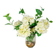 Creative Displays White Hydrangea With Leaves In A Glass Vase Accented With River Rocks