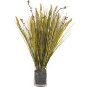 Creative Displays Grass And Curly Willow In Glass Cylinder Vase Filled With Rocks