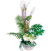 Creative Displays Hydrangea And Assorted Greenery Arrangement In Silver Glass Vase
