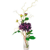 Creative Displays Purple Garden Dahlia In Square Glass Vase