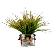Creative Displays Vanilla Grass In Glass & Wire Basket Container With Rocks