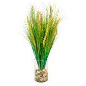 Creative Displays Grass Bush In Tall Cylinder Vase With Rocks