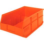 """Quantum Stackable Shelf Bins - 11""""Wx18""""Dx7""""H - Orange - Pkg Qty 6"""