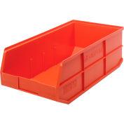 """Quantum Stackable Shelf Bins - 11""""Wx20-1/2""""Dx7""""H - Orange - Pkg Qty 6"""