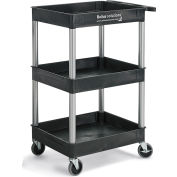 Relius Solutions®  Tray-Shelf Carts With Nickel Legs - 3 Shelves - Tub Top
