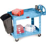 "Rubbermaid® Premium Universal Plastic Utility Cart, 2 Shelf, 30""Lx16""W, Blue"