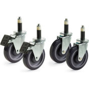 Compression Casters For Relius Solutions Wire Shelving With Chrome Finish - Package Of 4
