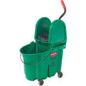 Rubbermaid Wavebrake Mop Bucket/Wringer System - 35-Quart Capacity - Down Wringer - Green
