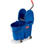 Rubbermaid Wavebrake Mop Bucket/Wringer System - 35-Quart Capacity - Down Wringer - Blue