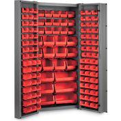 """Bin Cabinet Deep Door with 132 Red Bins, 16 Ga. All-Welded Cabinet 36""""W x 24""""D x 72""""H, Gray"""