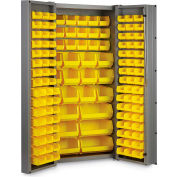 "Bin Cabinet Deep Door with 132 Yellow Bins, 16 Ga. All-Welded Cabinet 36""W x 24""D x 72""H, Gray"