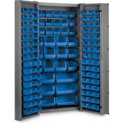 "Bin Cabinet Deep Door with 132 Blue Bins, 16 Ga. All-Welded Cabinet 36""W x 24""D x 72""H, Gray"
