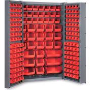 """Bin Cabinet Deep Door with 176 Red Bins, 16 Ga. All-Welded Cabinet 48""""W x 24""""D x 72""""H, Gray"""