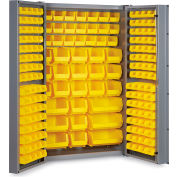 "Bin Cabinet Deep Door with 176 Yellow Bins, 16 Ga. All-Welded Cabinet 48""W x 24""D x 72""H, Gray"