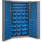 "Bin Cabinet Deep Door with 176 Blue Bins, 16 Ga. All-Welded Cabinet 48""W x 24""D x 72""H, Gray"