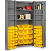 "Bin Cabinet Deep Door with 64 Yellow Bins, 16 Ga. All-Welded Cabinet 36""W x 24""D x 72""H, Gray"