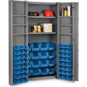 "Bin Cabinet Deep Door with 64 Blue Bins, 16 Ga. All-Welded Cabinet 36""W x 24""D x 72""H, Gray"