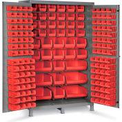"Bin Cabinet Flush Door with 171 Red Bins, 16 Ga. All-Welded Cabinet 48""W x 24""D x 78""H, Gray"