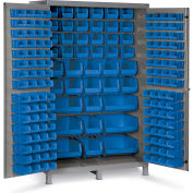 "Bin Cabinet Flush Door with 171 Blue Bins, 16 Ga. All-Welded Cabinet 48""W x 24""D x 78""H, Gray"