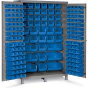 "Bin Cabinet Flush Door with 171 Blue Bins, 16 Ga. All-Welded Cabinet 48""W x 24""D x 78""H, Gray"