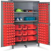 "Bin Cabinet Flush Door with 137 Red Bins, 16 Ga. All-Welded Cabinet 48""W x 24""D x 78""H, Gray"