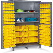 "Bin Cabinet Flush Door with 137 Yellow Bins, 16 Ga. All-Welded Cabinet 48""W x 24""D x 78""H, Gray"