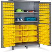 "Bin Cabinet Flush Door with 137 Yellow Bins, 16 Ga. All-Welded Cabinet 48""W x 24""D x 78""H, Gray"