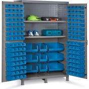 "Bin Cabinet Flush Door with 137 Blue Bins, 16 Ga. All-Welded Cabinet 48""W x 24""D x 78""H, Gray"
