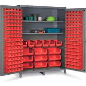 "Bin Cabinet Flush Door with 185 Red Bins, 16 Ga. All-Welded Cabinet 60""W x 24""D x 84""H, Gray"