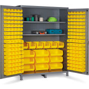"Bin Cabinet Flush Door with 185 Yellow Bins, 16 Ga. All-Welded Cabinet 60""W x 24""D x 84""H, Gray"