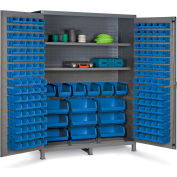 "Bin Cabinet Flush Door with 185 Blue Bins, 16 Ga. All-Welded Cabinet 60""W x 24""D x 84""H, Gray"